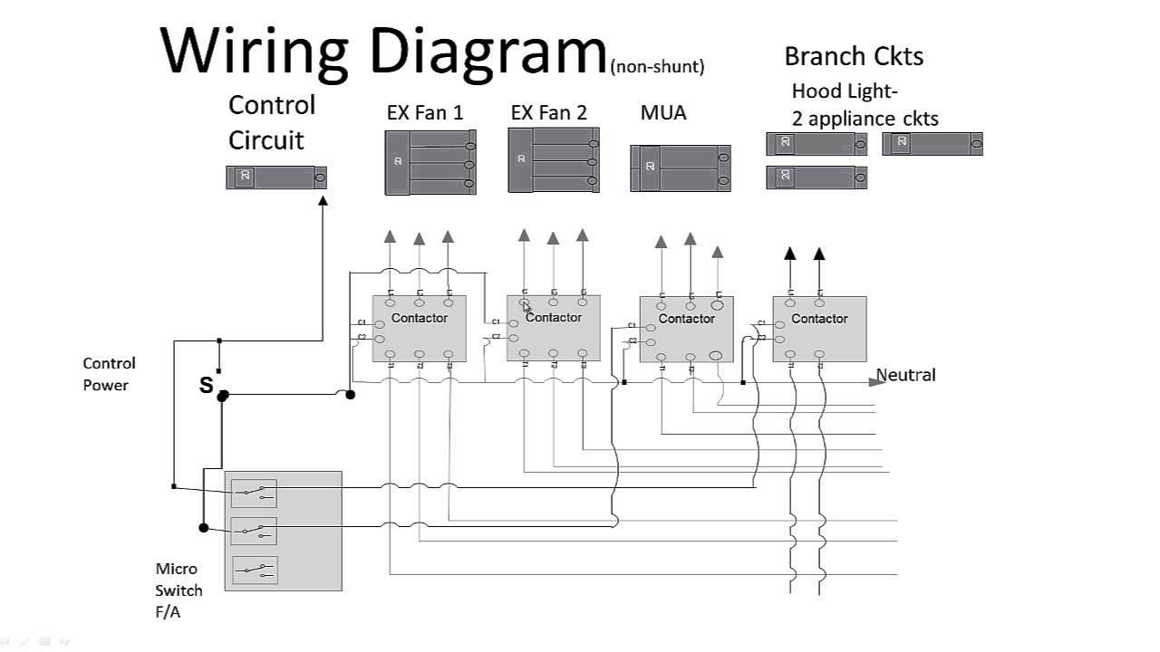 Kitchen Hood Non-Shunt Trip - Youtube - Ansul System Wiring Diagram