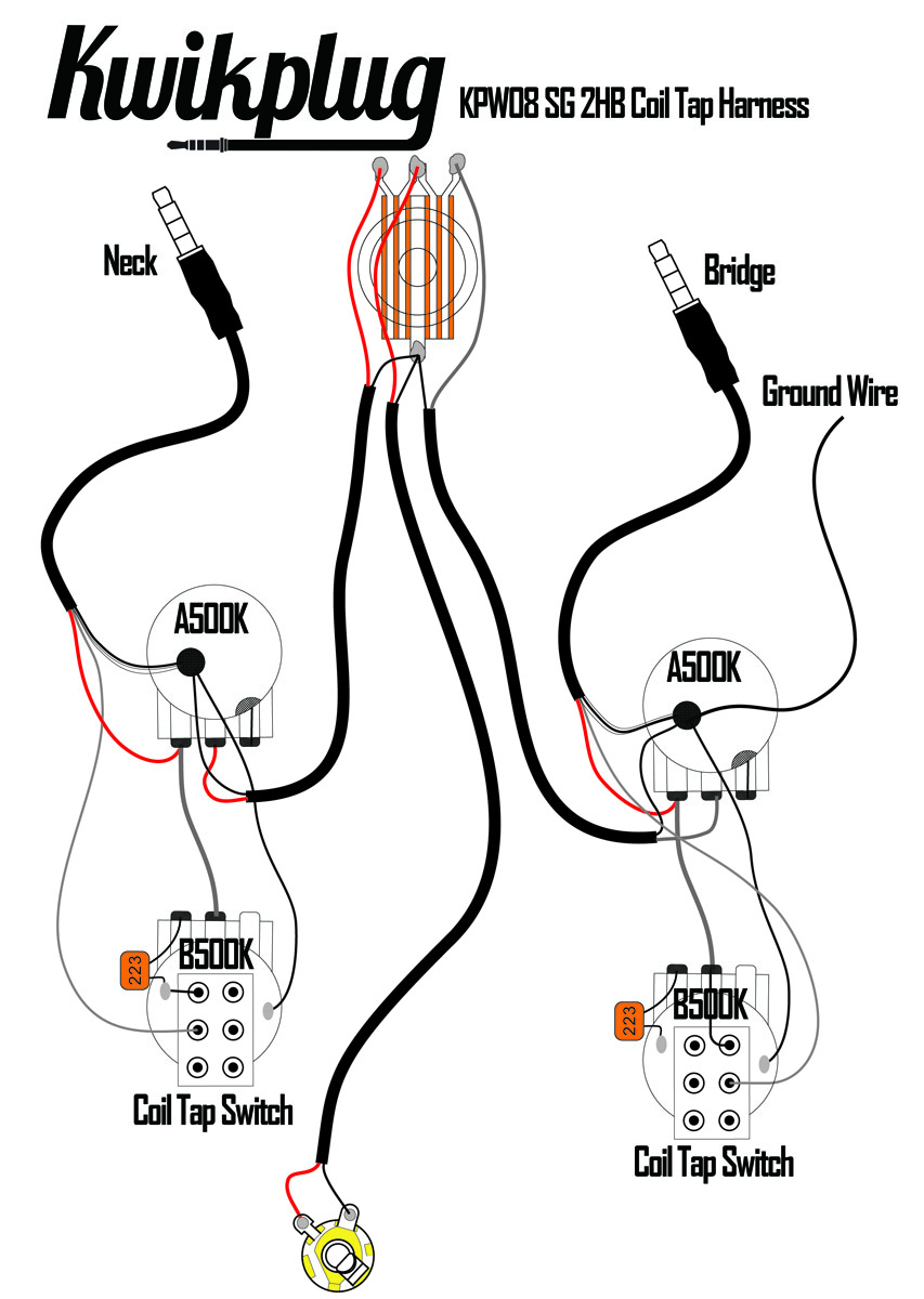 Kwikplug Sg Dual Coil Tap Humbucker Wiring Harness- Pre-Soldered - Coil Split Wiring Diagram