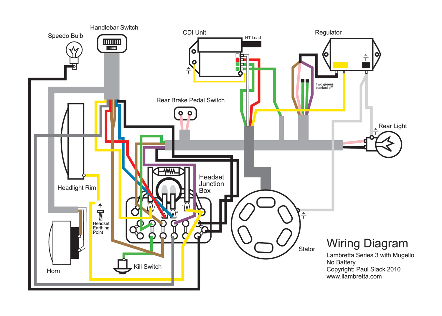 Lambretta Restoration: Wiring Diagram For Mugello 12 Volt Upgrade - 12V Wiring Diagram