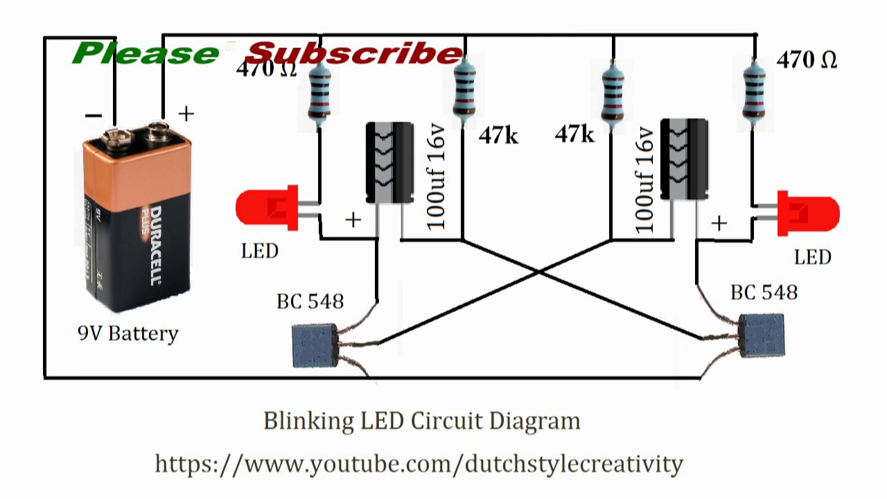 Learn How To Make Blinking Led Lights Circuit, Blink Led, Flash Led - Led Lighting Wiring Diagram