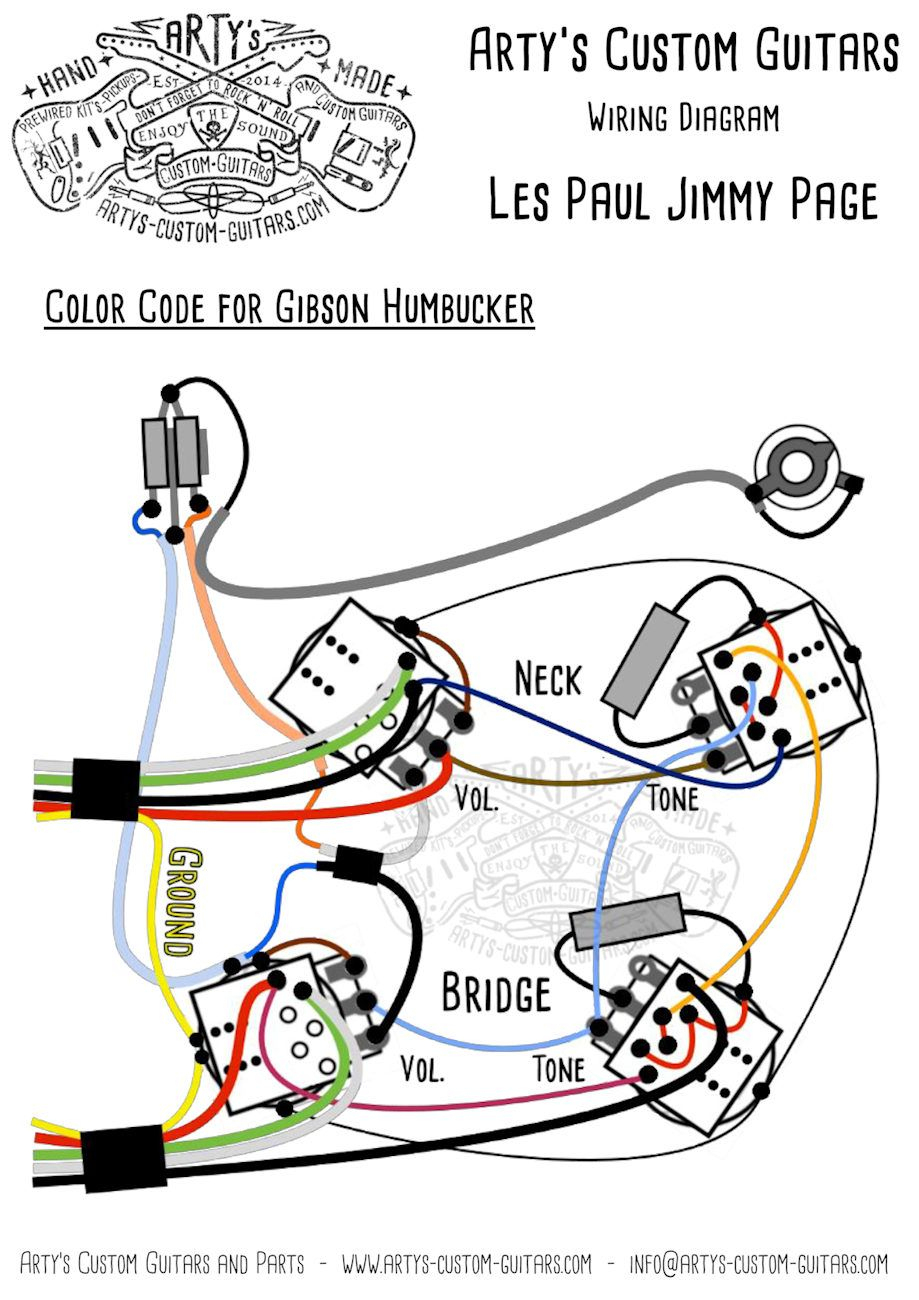 Les Paul Jimmy Page Style Prewired Harness Les Paul Mit Bumble Bee - Jimmy Page Wiring Diagram