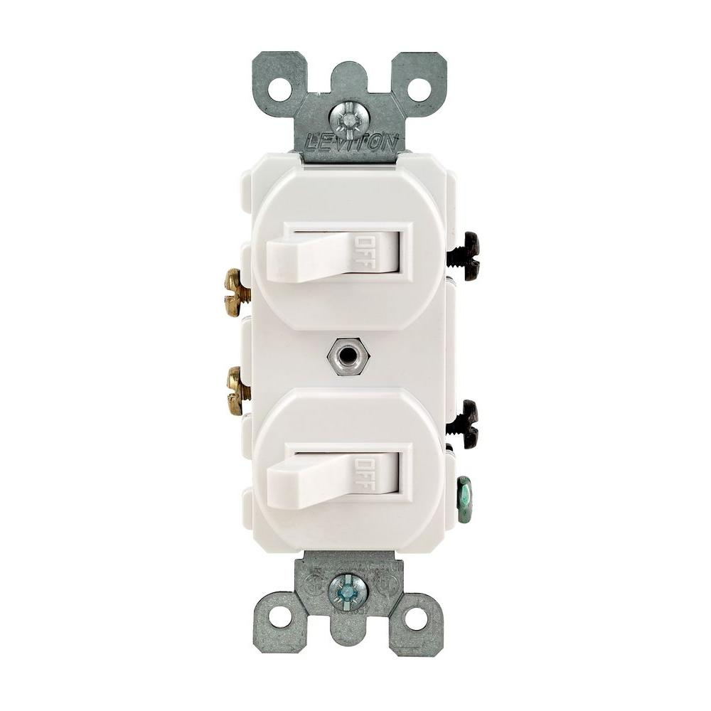 Leviton 15 Amp Combination Double Switch, White-R62-05224-2Ws - The - Leviton Double Switch Wiring Diagram
