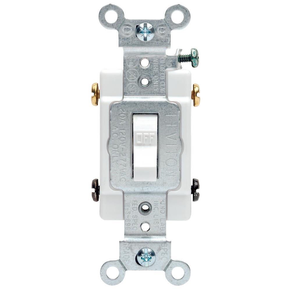 Leviton 20 Amp Commercial Double-Pole Toggle Switch, White-R52-0Csb2 - Leviton Double Pole Switch Wiring Diagram