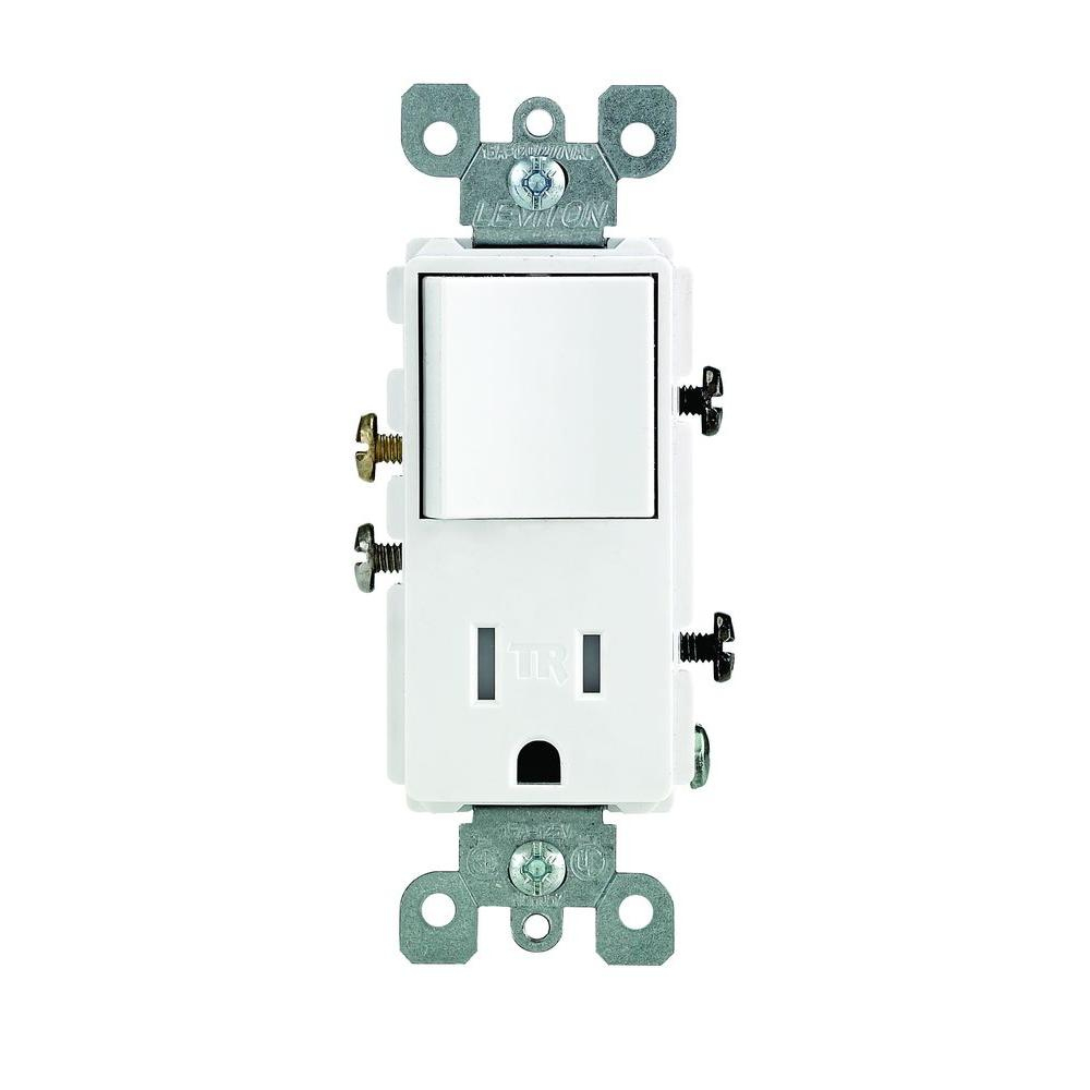 Leviton Decora 15 Amp Tamper Resistant Combo Switch And Outlet - Light Switch Outlet Combo Wiring Diagram