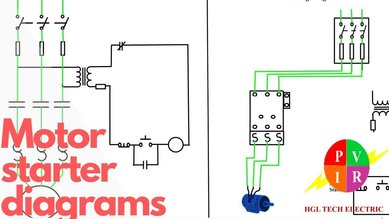 Motor Starter Diagram. Start Stop 3 Wire Control. Starting A Three - Magnetic Starter Wiring Diagram