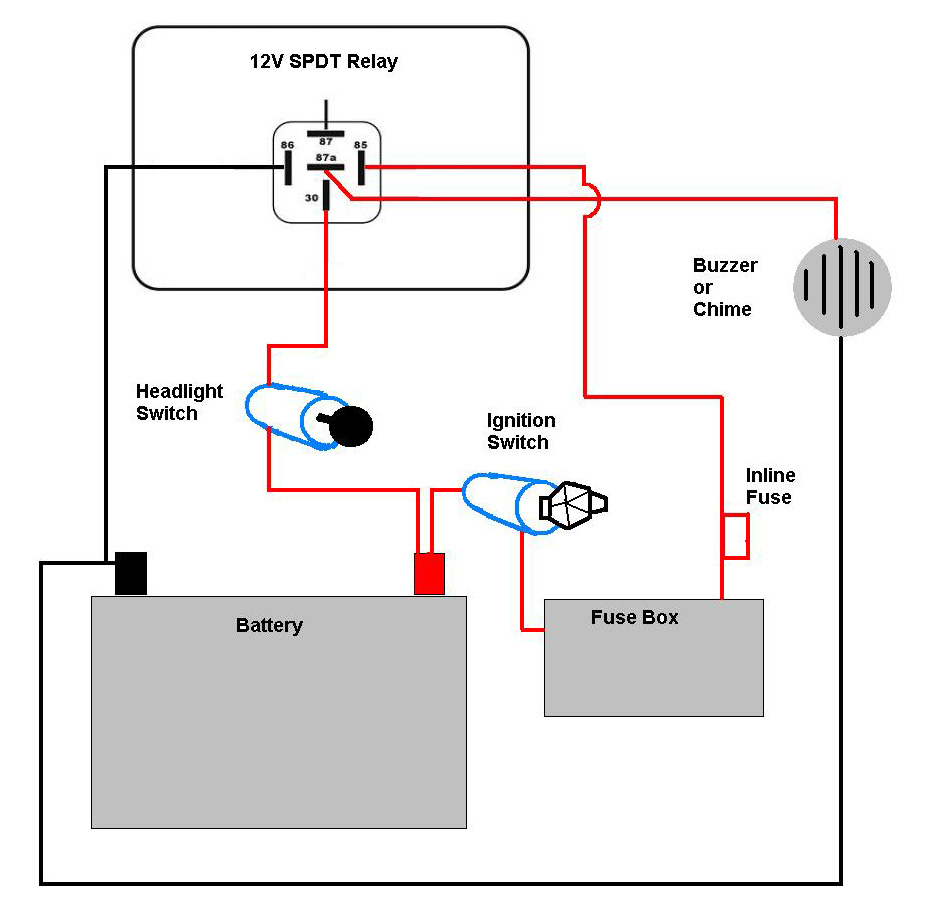 Motorcycle Headlight With Single Spdt Relay - Motor Vehicle - Headlight Relay Wiring Diagram