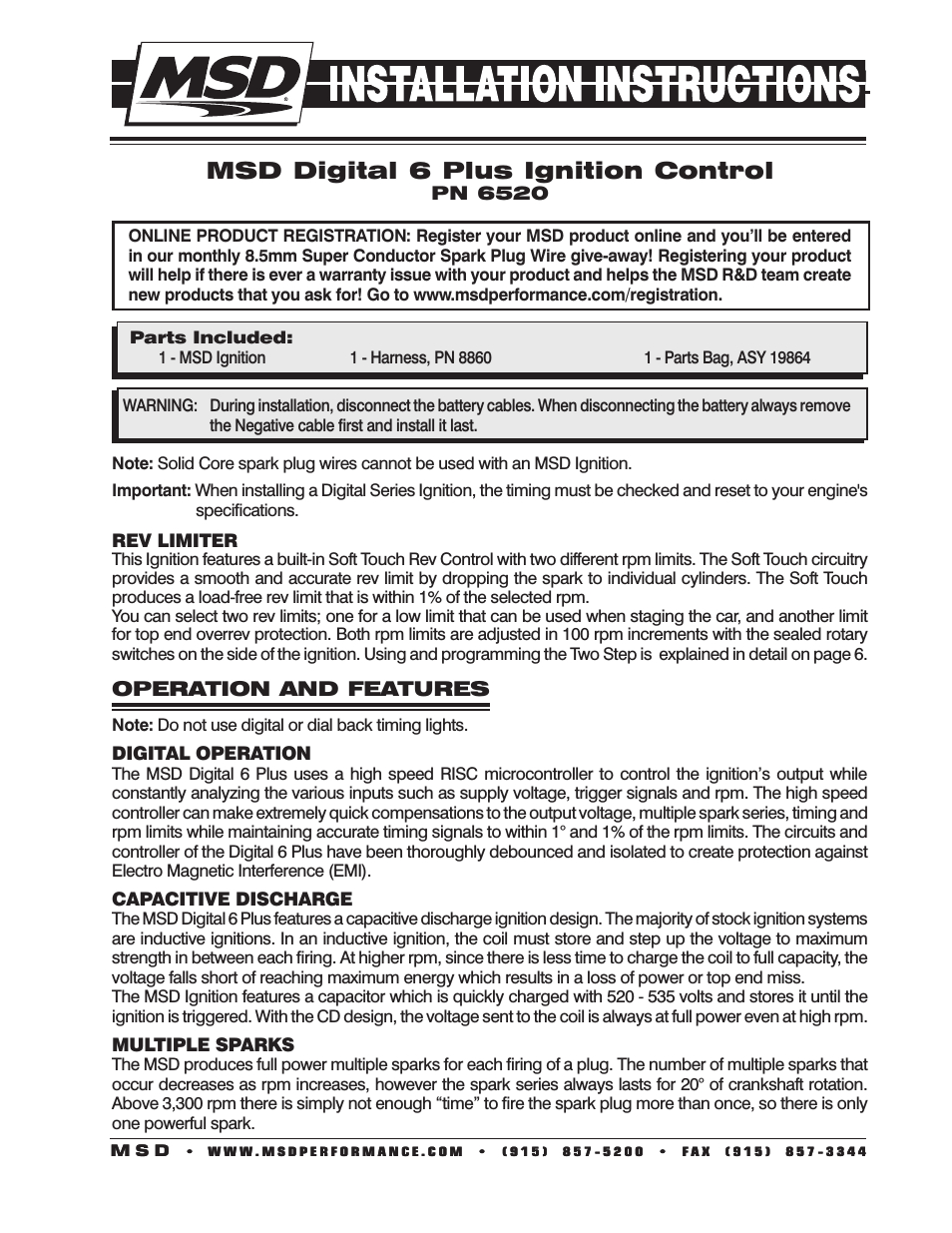 Msd 6520 Digital 6-Plus Ignition Control Installation User Manual - Msd Digital 6 Plus Wiring Diagram
