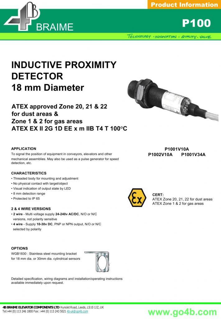P100 - Inductive Proximity Sensor 18Mm - 4B Braime ...