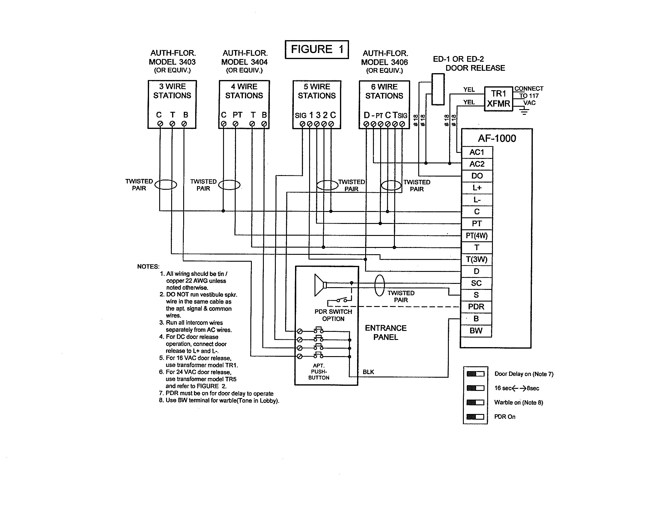 Pacific Electronics 3403 3-Wire Plastic Intercom Station - 3 Wire Motor Wiring Diagram