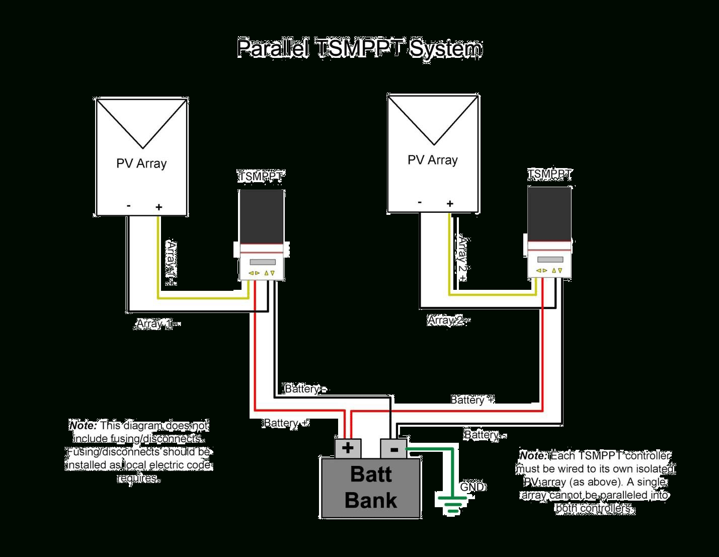 Parallel Charging Using Multiple Controllers With Separate Pv Arrays - Parallel Wiring Diagram