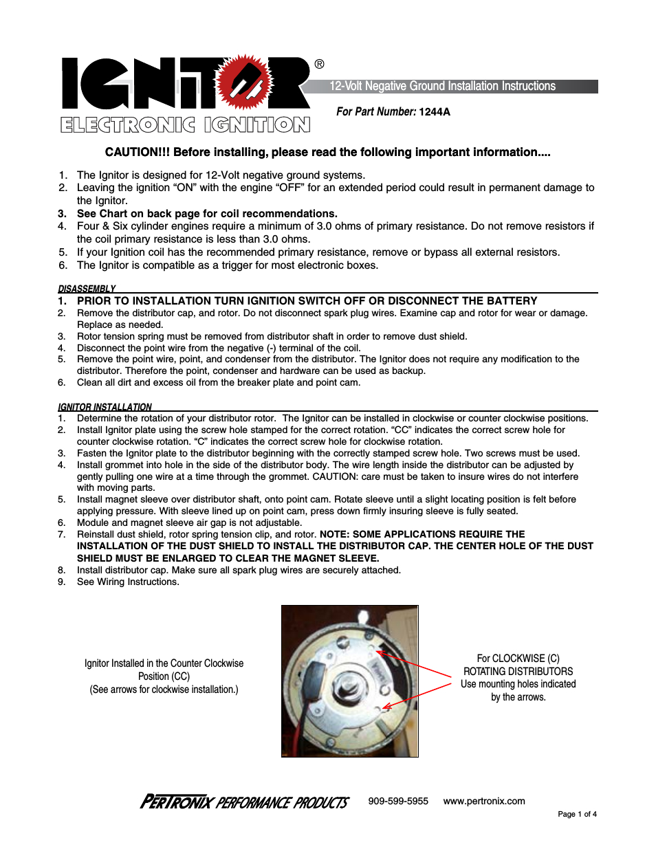 Pertronix Ignitor 1244A User Manual | 4 Pages - Pertronix Ignitor Wiring Diagram