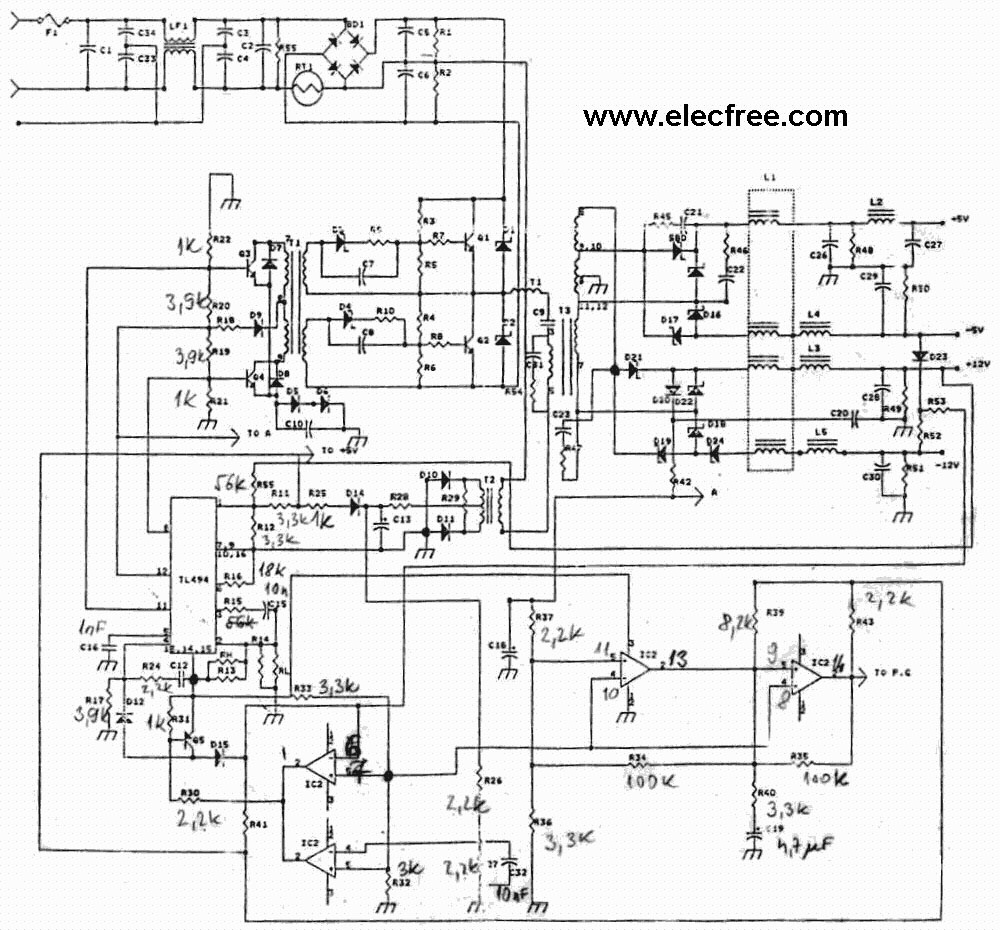 Psu Computer Wiring Diagram | Manual E-Books - Computer Power Supply Wiring Diagram