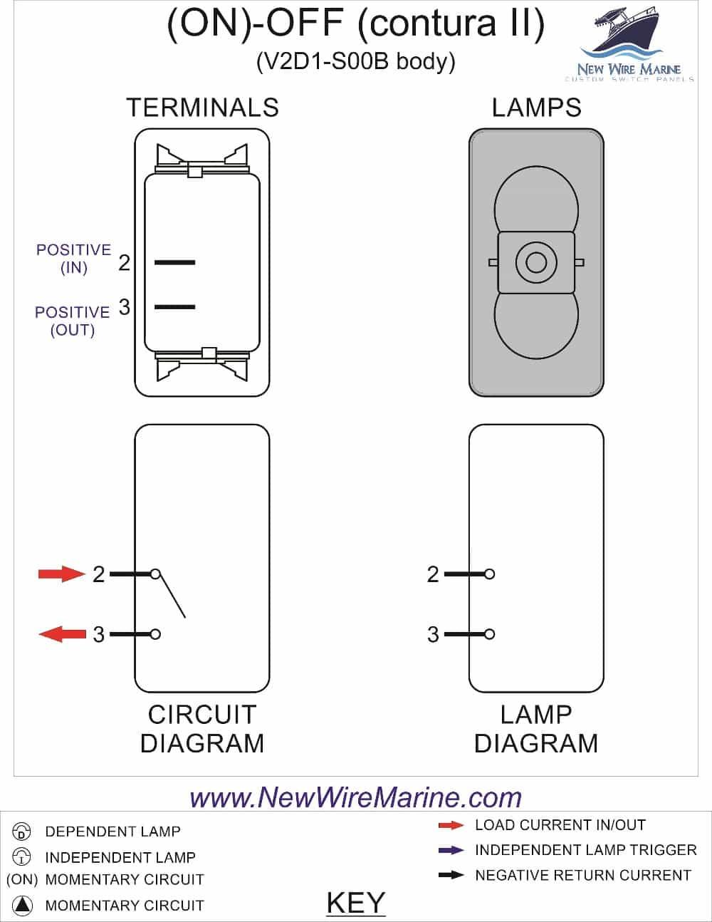 Red Horn Rocker Switch | Carling Contura Ii | Illuminated | Accessory - Switch Wiring Diagram