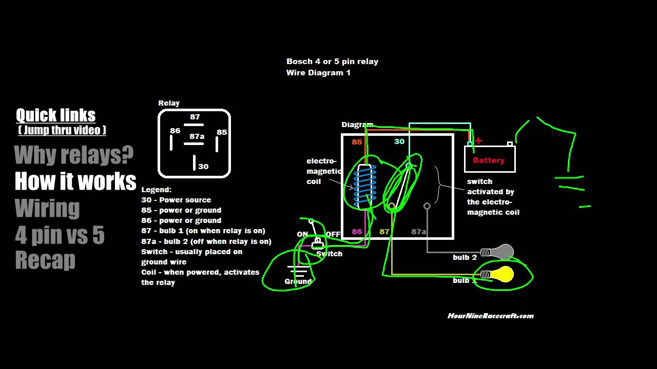 Relay Tutorial: 5 Pin Vs 4 Pin Wiring (Example 1) - Youtube - 4 Prong Relay Wiring Diagram