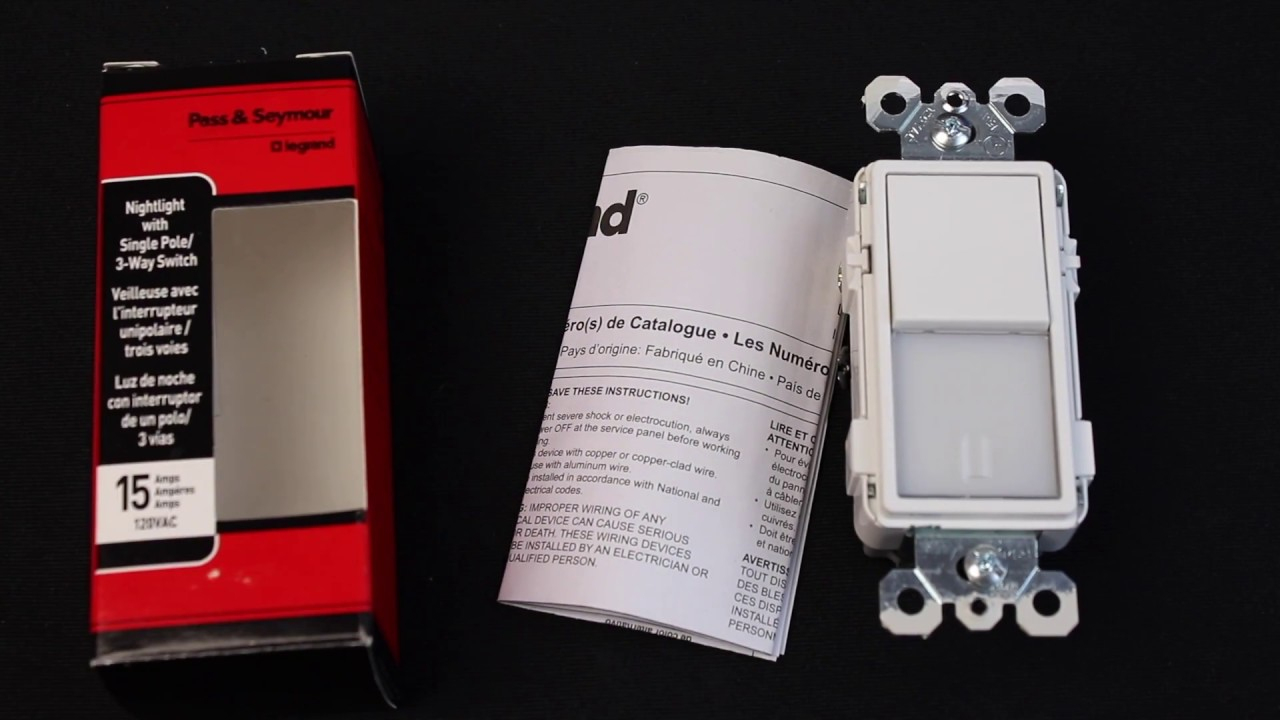 Review Legrand Nightlight Switch Ntl873Wcc6 Pass Seymour - Youtube - Pass And Seymour 3 Way Switch Wiring Diagram