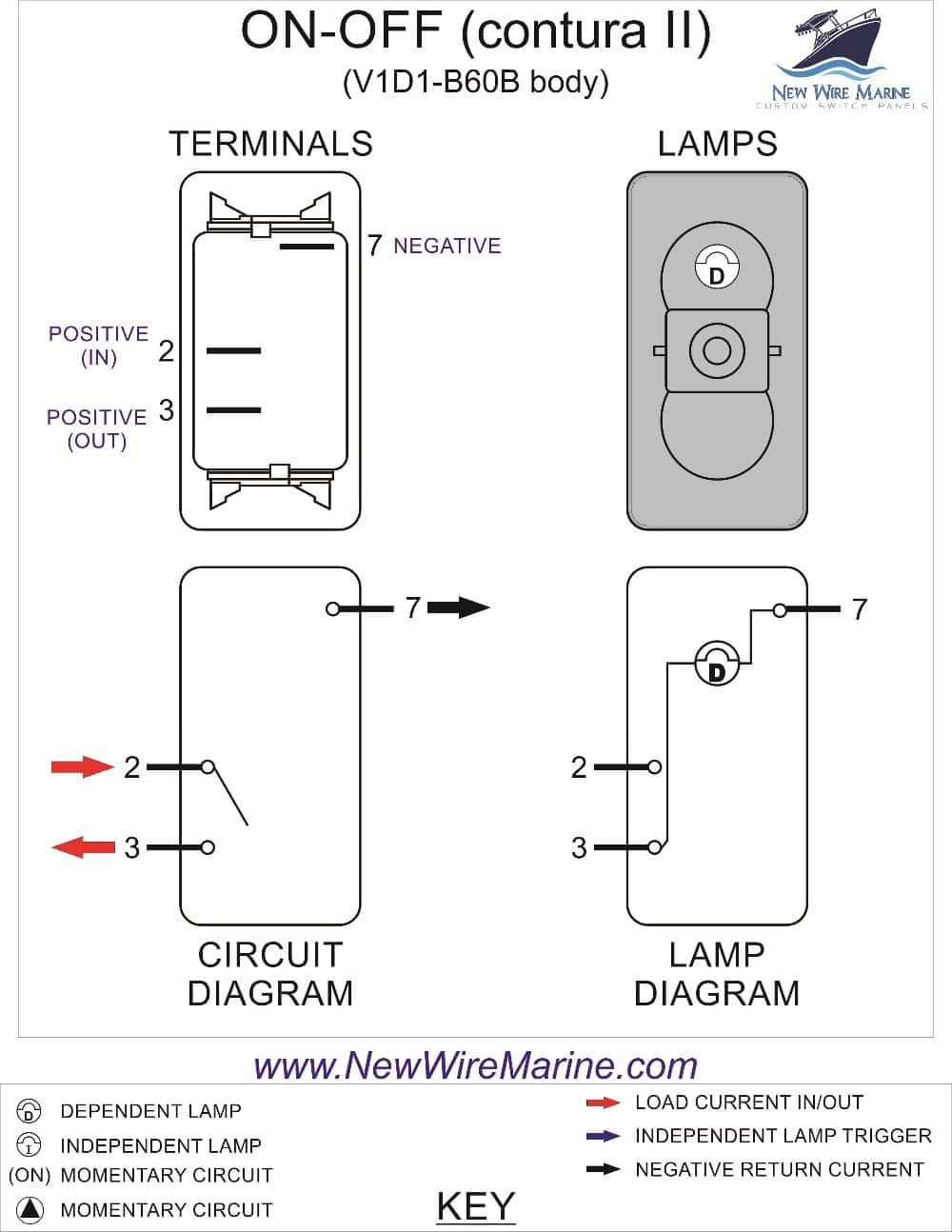 Rocker Switch Wiring Diagrams | New Wire Marine - Dpdt Switch Wiring Diagram