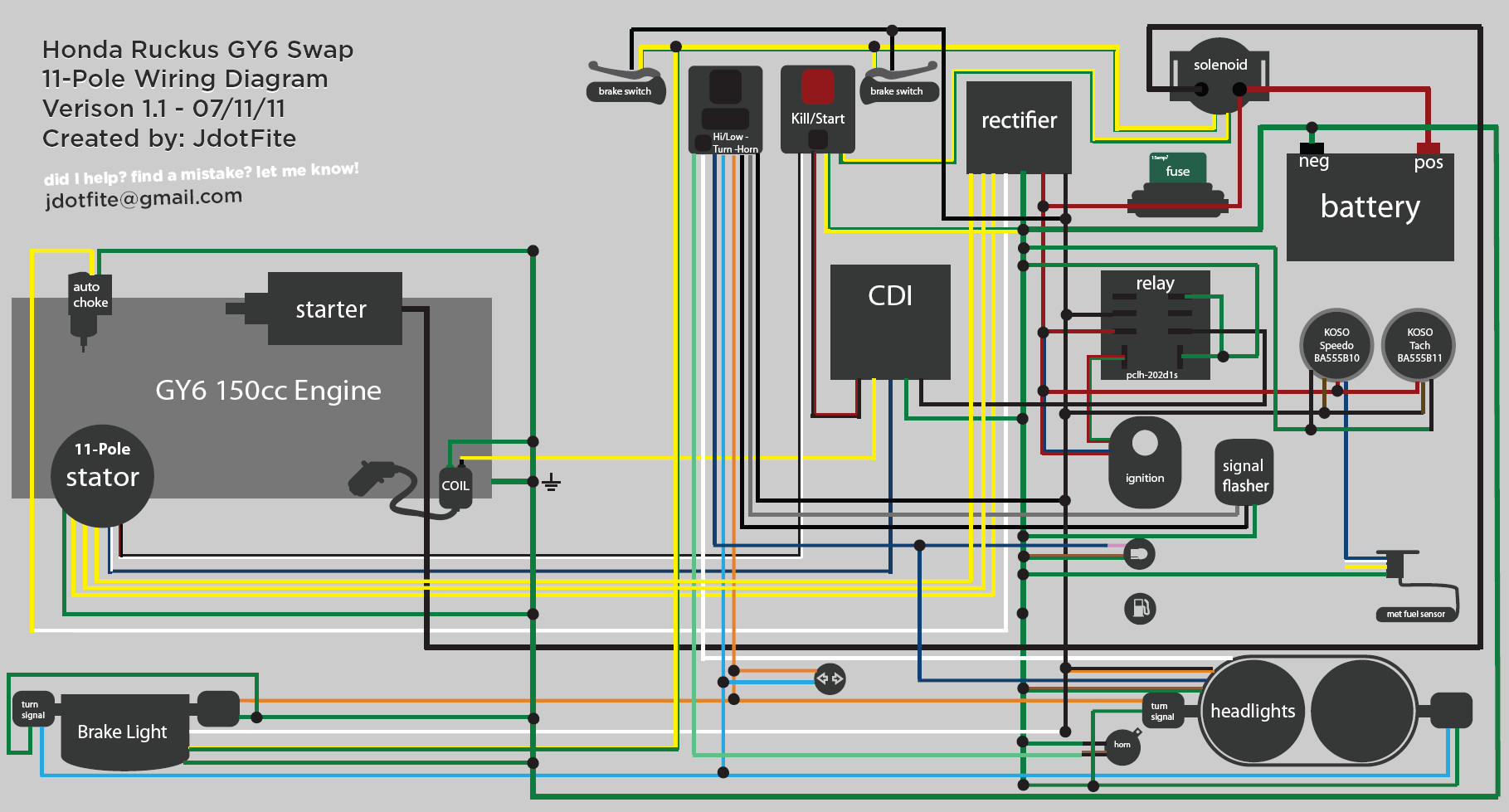 Ruckus Gy6 Swap Wiring Diagram | Honda Ruckus Documentation - Gy6 Wiring Diagram