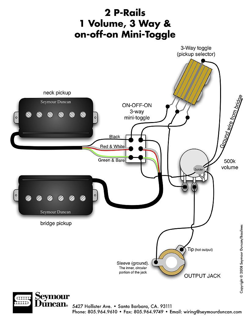 Seymour Duncan P-Rails Wiring Diagram - 2 P-Rails, 1 Vol, 3 Way & On - P Bass Wiring Diagram