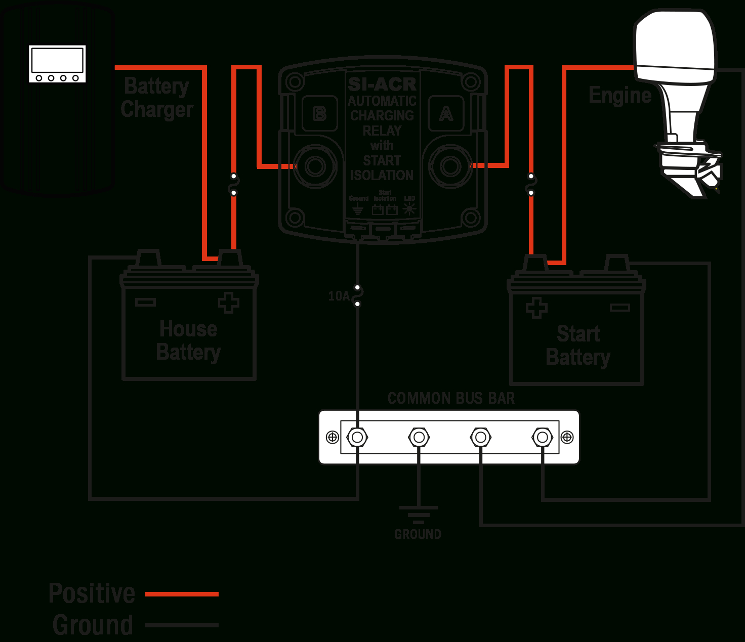 Si-Acr Automatic Charging Relay - 12/24V Dc 120A - Blue Sea Systems - Marine Battery Switch Wiring Diagram