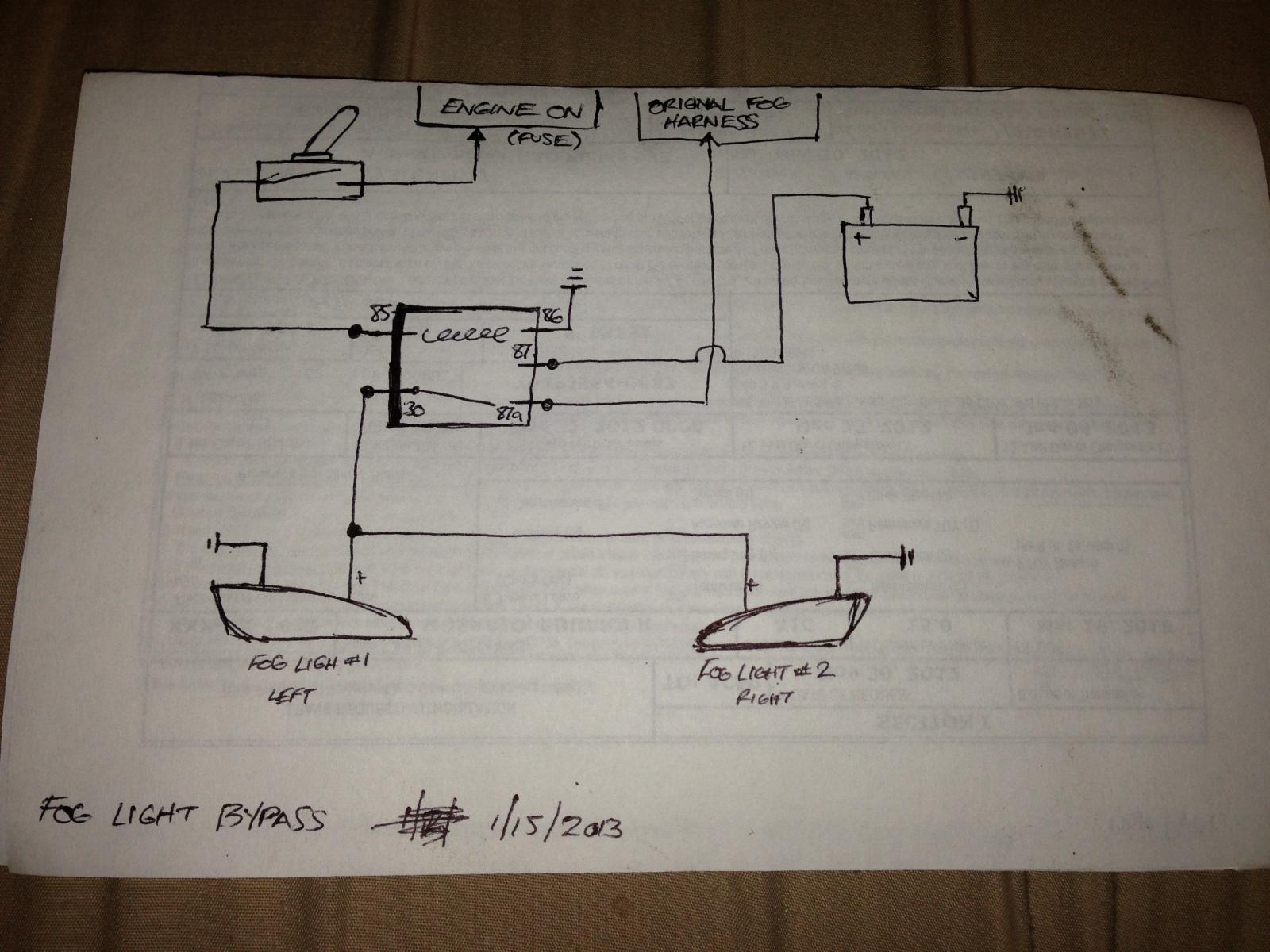 Simple Wiring Diagram To Bypass Foglights (Works W/o Headlights Or W - Fog Light Wiring Diagram