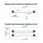 Single And Double Tube Fluorescent Lighting Circuit. Simple Vector   Fluorescent Light Wiring Diagram