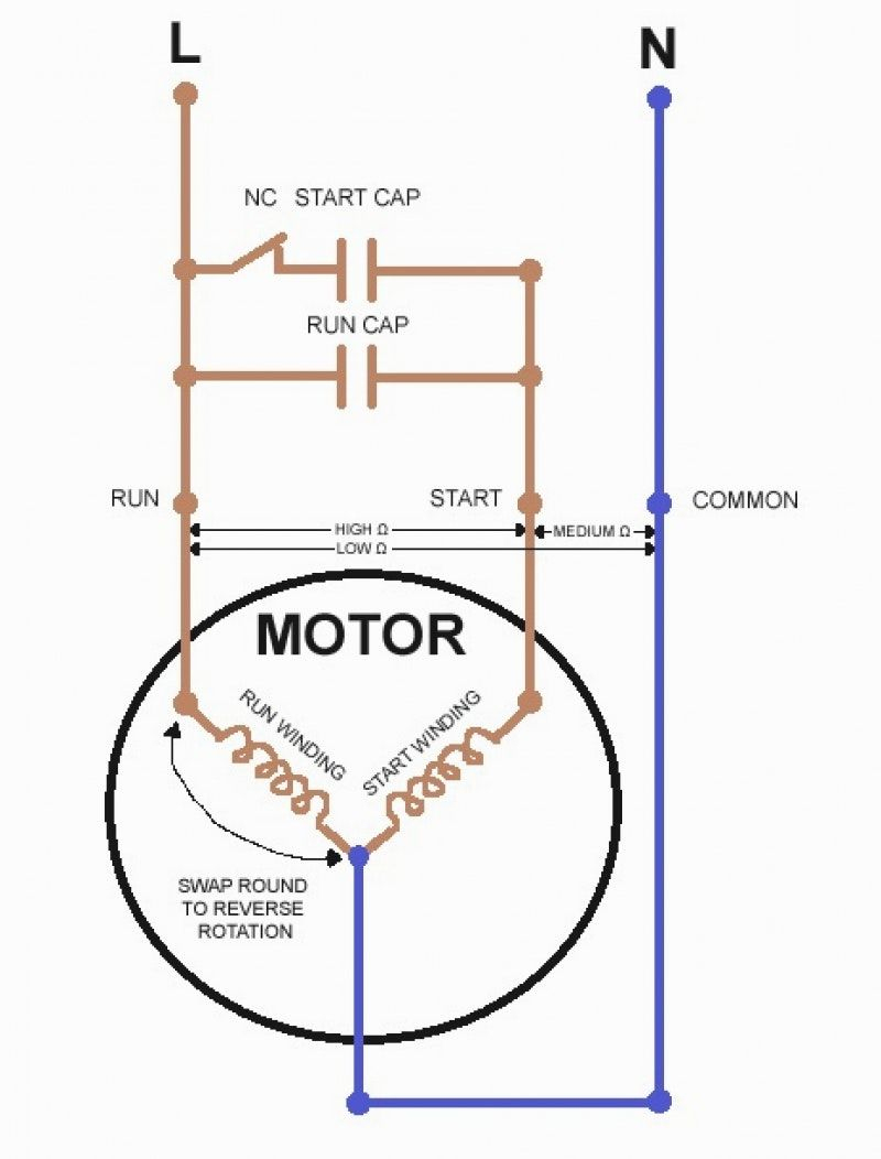 Single Phase Capacitor Start Capacitor Run Motor Wiring Diagram - Capacitor Start Motor Wiring Diagram
