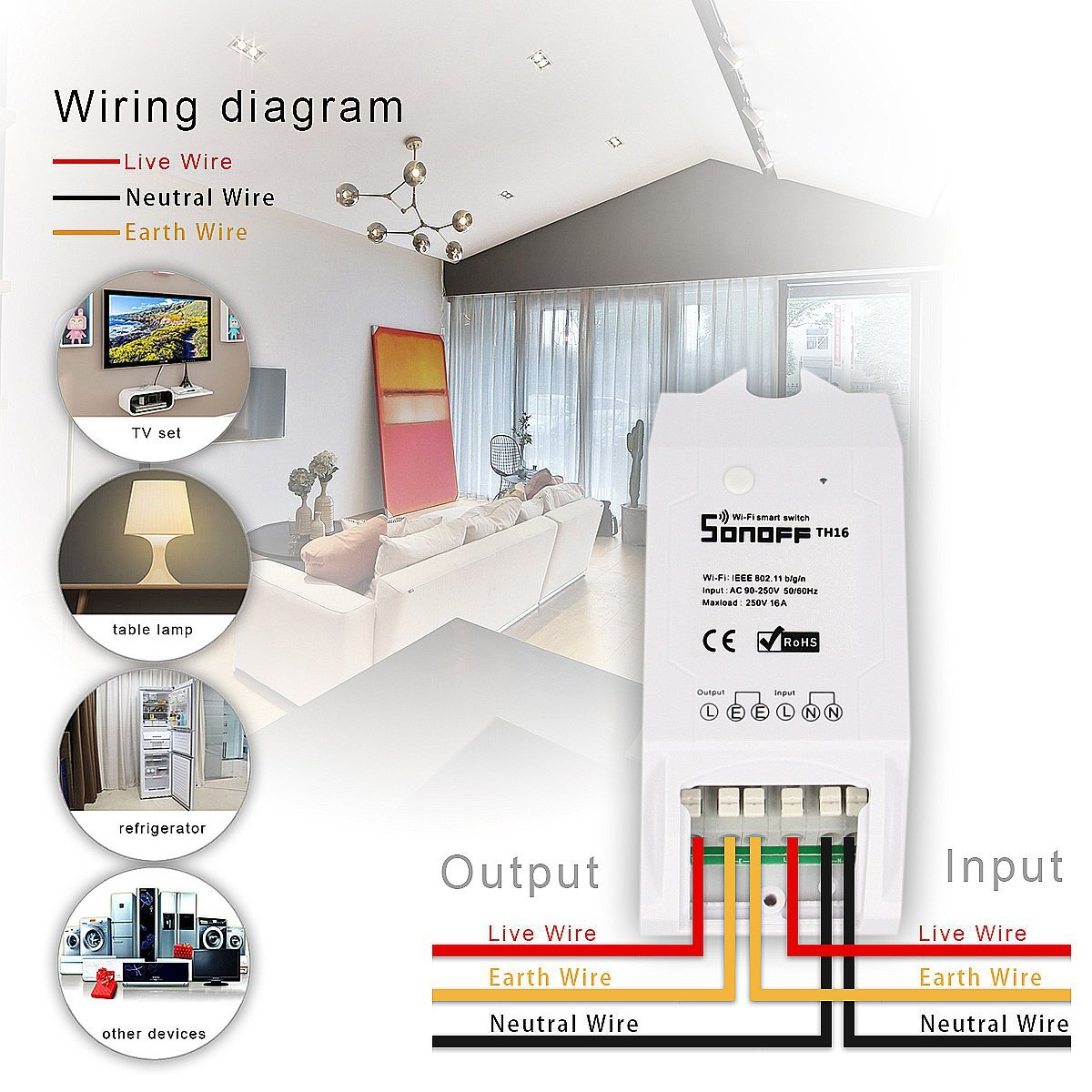 Sonoff Th16/th – Module For Temperature And Humidity Monitoring With - Sonoff Wiring Diagram