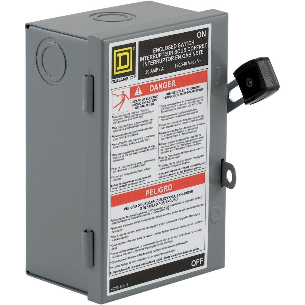 Square D 30 Amp 240-Volt 2-Pole Fused Indoor Light Duty Safety - 30 Amp Disconnect Wiring Diagram