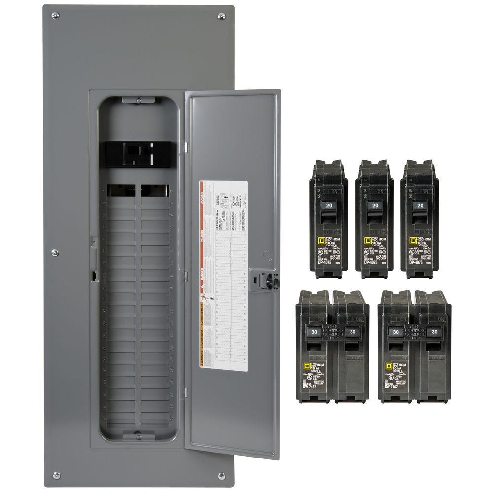 Square D Homeline 200 Amp 40-Space 80-Circuit Indoor Main Breaker Plug-On  Neutral Load Center With Cover - Value Pack - Electrical Panel Wiring Diagram