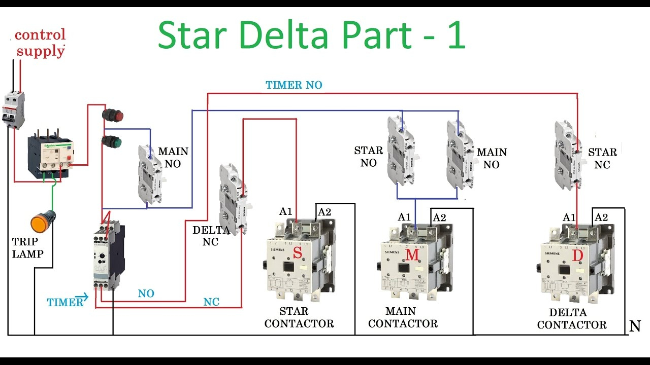 Star Delta Starter - Motor Control With Circuit Diagram In Hindi - Starter Motor Wiring Diagram