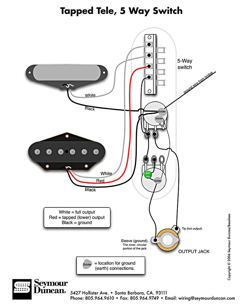 Tele Wiring Diagram, Tapped With A 5 Way Switch | Telecaster Build - Telecaster Wiring Diagram