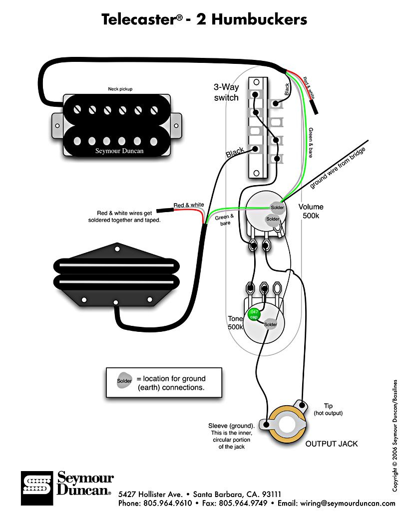 Tele Wiring Diagram With 2 Humbuckers | Telecaster Build | Guitar - Telecaster Wiring Diagram 3 Way