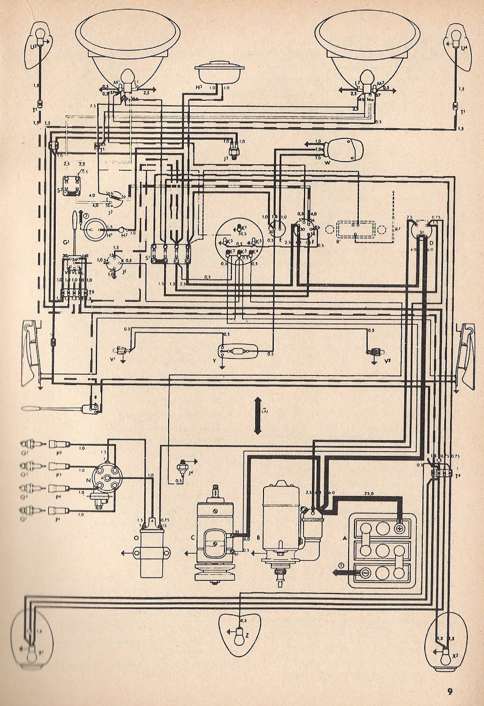 Thesamba :: Type 1 Wiring Diagrams - 1973 Vw Beetle Wiring Diagram