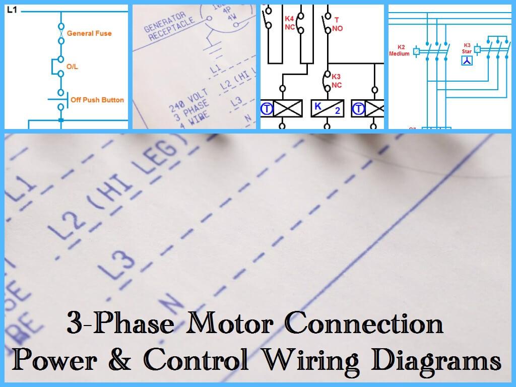 Three Phase Motor Power & Control Wiring Diagrams - 3 Phase Motor Wiring Diagram