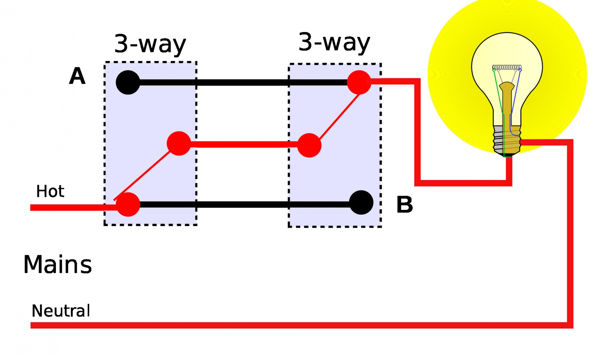 Two Way Switch Wiring Diagram – Wiring Diagram For 3 Way Switches - 4 Way Switch Wiring Diagram Multiple Lights