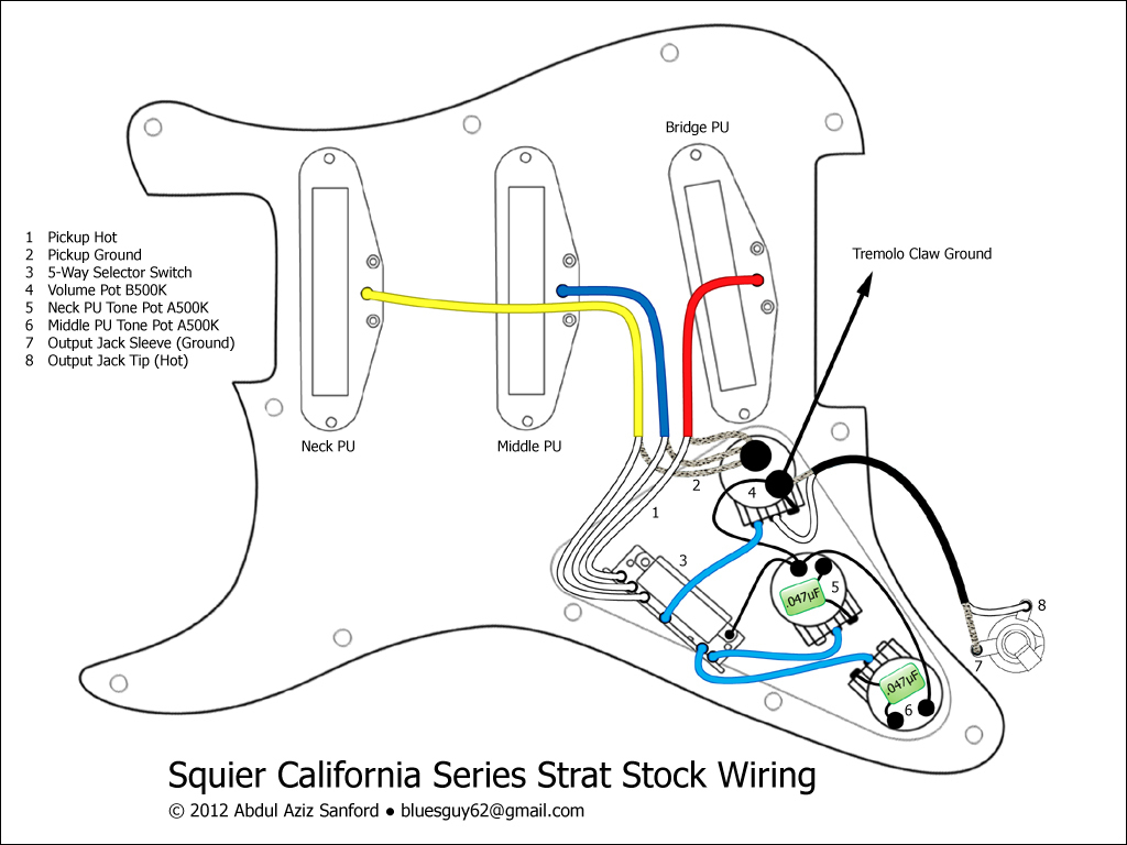 Wiring Diagram Fender Stratocaster Guitar | Manual E-Books - Strat Wiring Diagram