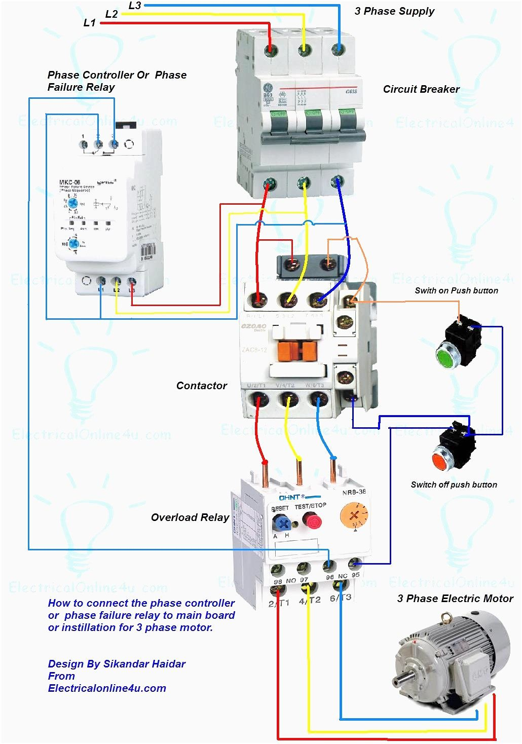 Wiring Diagram For Motor Starter 3 Phase Controller Failure Relay - Three Phase Motor Wiring Diagram