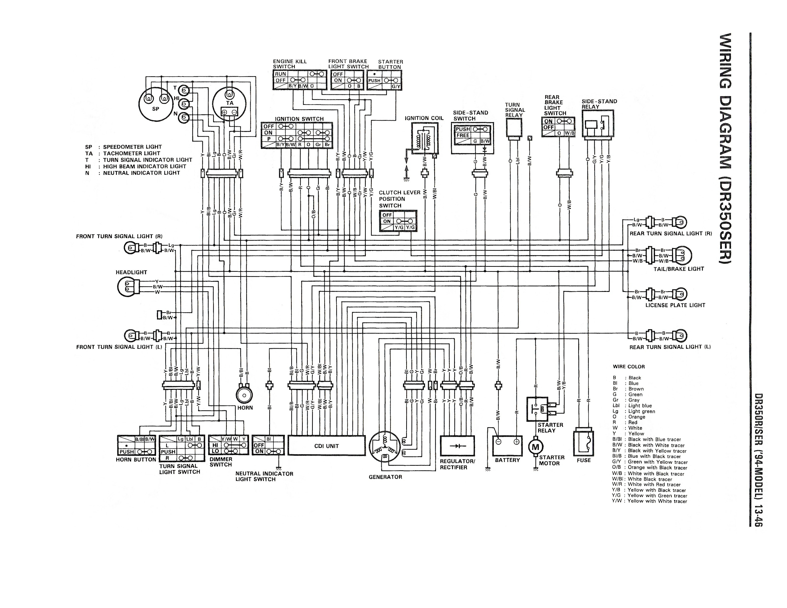 Wiring Diagram For The Dr350 Se (1994 And Later Models) - Suzuki - Wiring Diagram For A