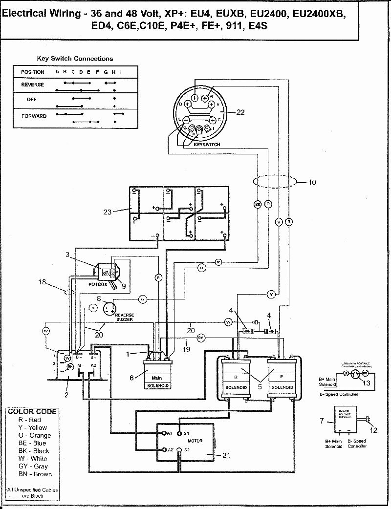 Wiring Diagrams 36 48 Volt Battery Banks Mikes Golf Carts | Manual E - Club Car Battery Wiring Diagram 48 Volt