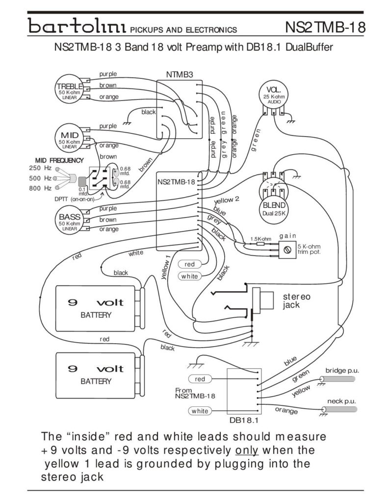Wiring Diagrams - Bartolini Pickups & Electronics - Precision Bass Wiring Diagram