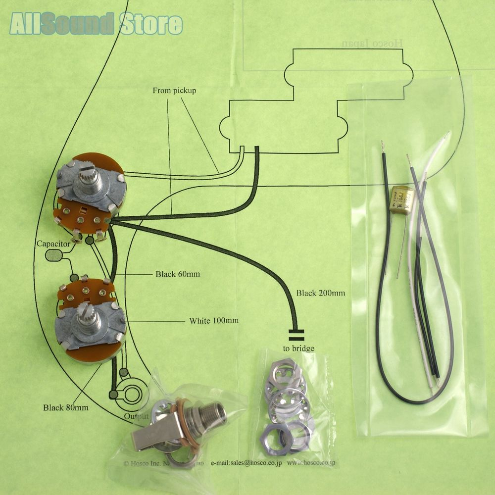 Wiring Kit For Import Fender Precision P-Bass Complete & Diagram - Fender P Bass Wiring Diagram