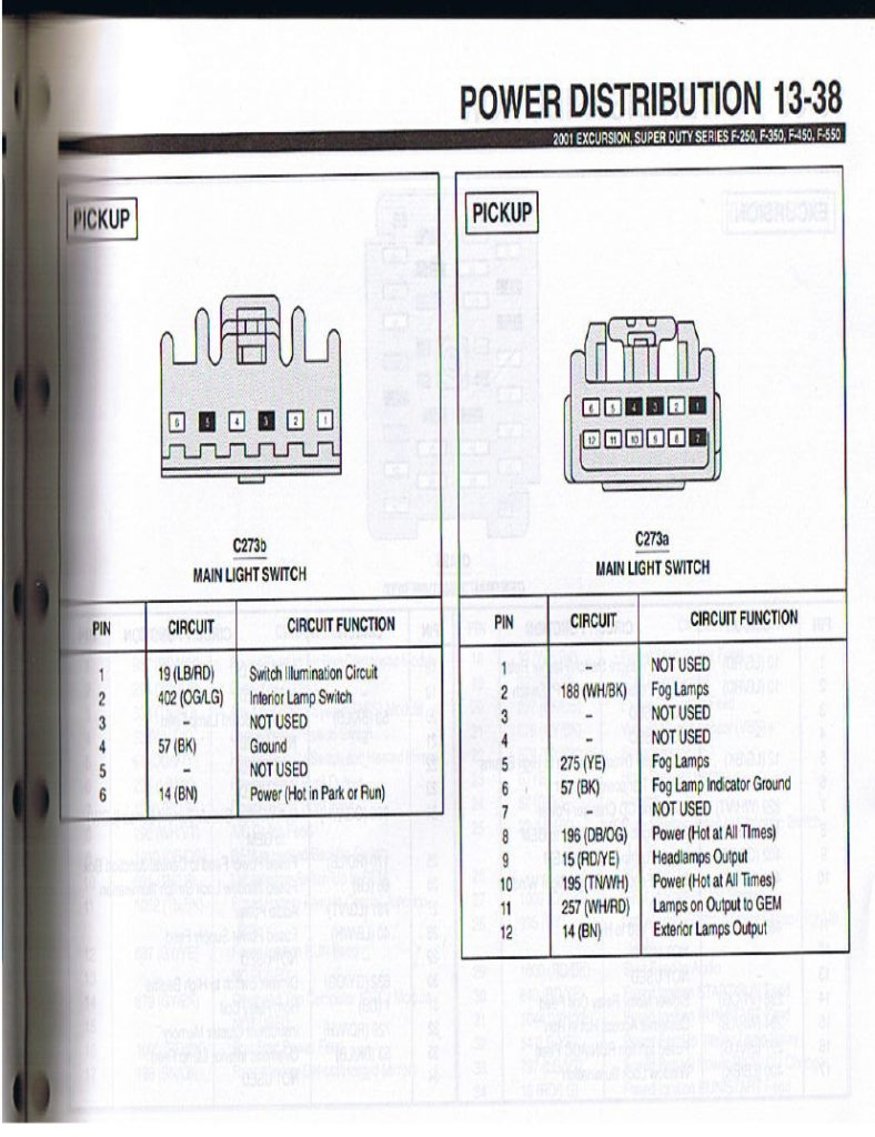 Wiring Pinout For 99-00 And 01-07 Headlight Switch