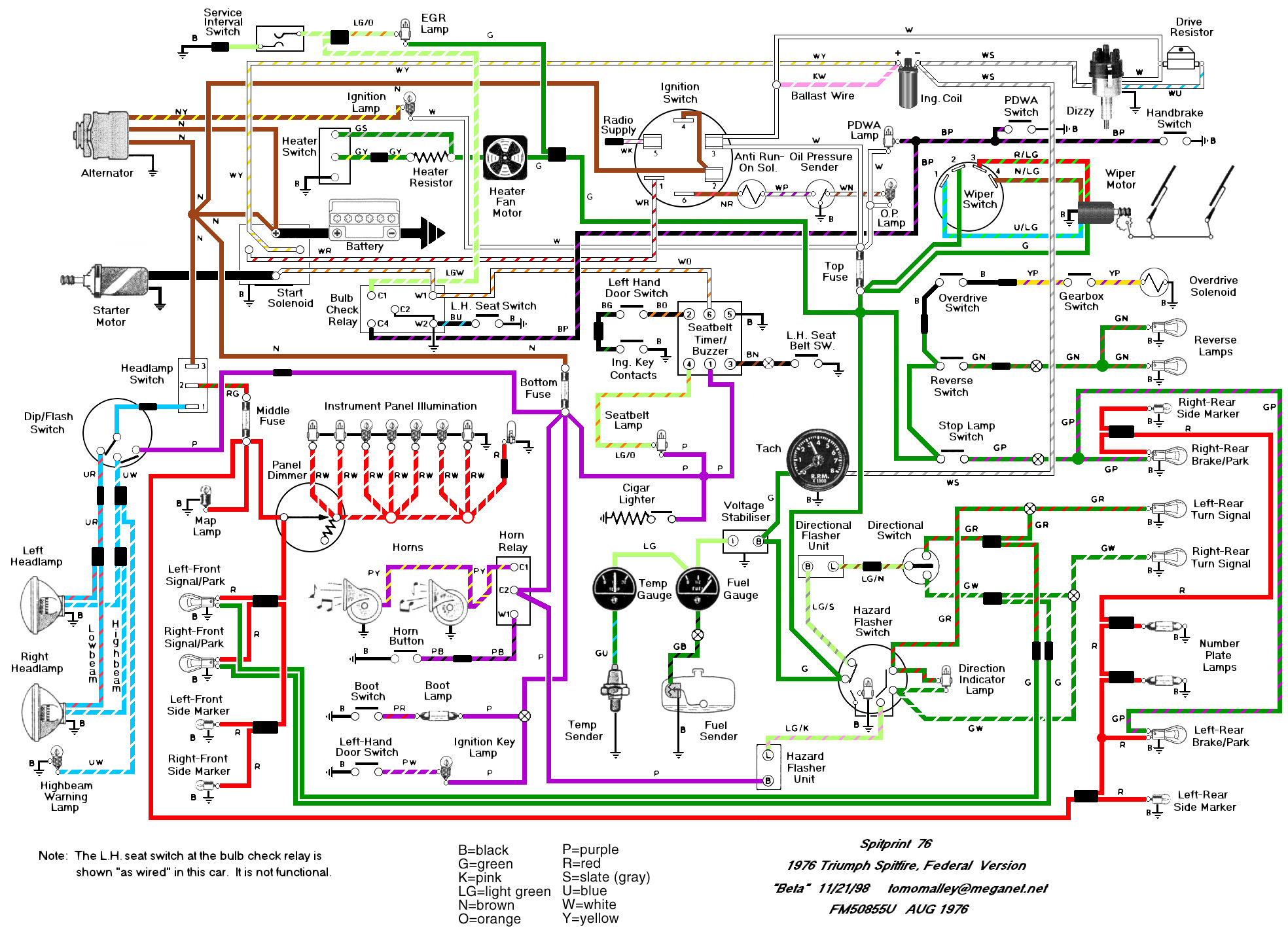 Wiring Schematics And Diagrams - Triumph Spitfire, Gt6, Herald - Wiring Diagram For